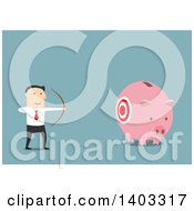 Clipart Of A Flat Design White Businessman Aiming At A Piggy Bank On Blue Royalty Free Vector Illustration