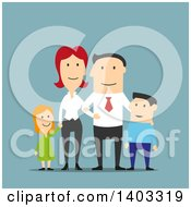 Clipart Of A Flat Design White Businessman And His Family On Blue Royalty Free Vector Illustration by Vector Tradition SM