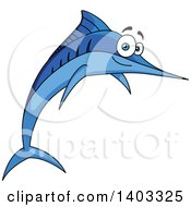 Clipart Of A Jumping Cartoon Marlin Swordfish Royalty Free Vector Illustration
