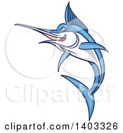Clipart Of A Jumping Cartoon Marlin Swordfish Royalty Free Vector Illustration by Vector Tradition SM
