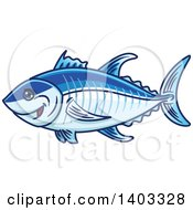 Clipart Of A Cartoon Blue Tuna Fish Royalty Free Vector Illustration by Vector Tradition SM