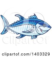 Clipart Of A Cartoon Blue Tuna Fish Royalty Free Vector Illustration