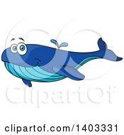 Clipart Of A Cartoon Happy Blue Whale Royalty Free Vector Illustration by Vector Tradition SM