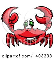 Clipart Of A Cartoon Happy Red Crab Royalty Free Vector Illustration
