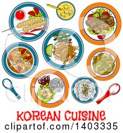 Clipart Of A Sketched Setting Of Korean Foods With Text Royalty Free Vector Illustration by Vector Tradition SM