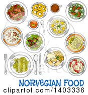 Clipart Of A Sketched Setting Of Norwegian Foods With Text Royalty Free Vector Illustration by Vector Tradition SM