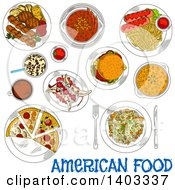 Clipart Of A Sketched Setting Of American Foods With Text Royalty Free Vector Illustration by Vector Tradition SM