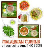Clipart Of A Sketched Setting Of Malaysian Foods With Text Royalty Free Vector Illustration by Vector Tradition SM