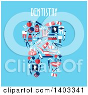 Flat Design Tooth Made Of Dental Items On Blue With Text