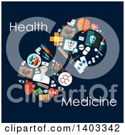 Clipart Of A Flat Design Pill Made Of Medical Items With Text On Blue Royalty Free Vector Illustration by Vector Tradition SM