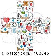 Clipart Of A Cross Formed Of Medical Items Royalty Free Vector Illustration