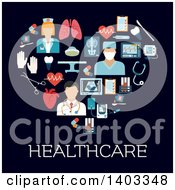 Clipart Of A Flat Design Heart Made Of Doctors And Medical Items Royalty Free Vector Illustration