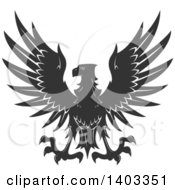 Clipart Of A Dark Gray Eagle Royalty Free Vector Illustration