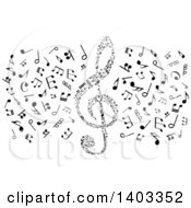 Clipart Of A Black And White Clef And Music Notes Royalty Free Vector Illustration by Vector Tradition SM