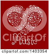 Clipart Of A Heart Made Of White Music Notes With Text On Red Royalty Free Vector Illustration