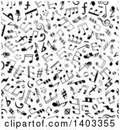 Clipart Of A Seamless Background Pattern Of Black Music Notes Royalty Free Vector Illustration
