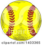 Clipart Of A Sketched Softball Royalty Free Vector Illustration