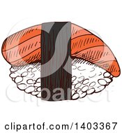 Clipart Of A Sketched Piece Of Nigiri Sushi With Smoked Salmon Or Tuna Royalty Free Vector Illustration by Vector Tradition SM