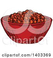 Clipart Of A Sketched Bowl Of Red Caviar Royalty Free Vector Illustration