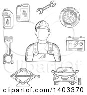 Clipart Of A Sketched Mechanic Car On Jack Wheel Spanner Piston Battery And Motor Oil Royalty Free Vector Illustration by Vector Tradition SM