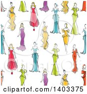 Seamless Background Pattern Of Sketched Models In Gowns