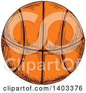 Clipart Of A Sketched Basketball Royalty Free Vector Illustration