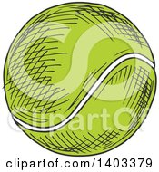 Clipart Of A Sketched Tennis Ball Royalty Free Vector Illustration