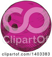 Clipart Of A Sketched Purple Bowling Ball Royalty Free Vector Illustration