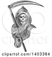 Clipart Of A Gray Sketched Grim Reaper Holding A Scythe And Reaching Out Royalty Free Vector Illustration