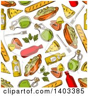 Clipart Of A Seamless Background Pattern Of Sketched Pasta Royalty Free Vector Illustration by Seamartini Graphics
