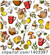 Poster, Art Print Of Seamless Background Pattern Of Sketched Tea And Snacks
