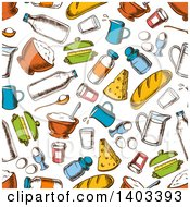 Clipart Of A Seamless Background Pattern Of Sketched Food Royalty Free Vector Illustration