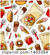 Seamless Background Pattern Of Sketched Food
