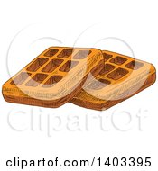 Clipart Of Sketched Waffles Royalty Free Vector Illustration