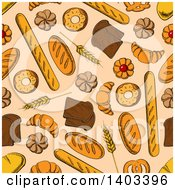 Clipart Of A Seamless Background Pattern Of Sketched Bread And Pastries Royalty Free Vector Illustration by Vector Tradition SM