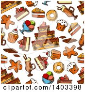Clipart Of A Seamless Background Pattern Of Sketched Sweets Royalty Free Vector Illustration by Vector Tradition SM
