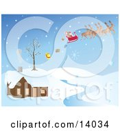 Snowflakes Falling On Santa In His Sleigh Pulled By His Reindeer Dropping Christmas Presents While Passing Over A House By A River Clipart Illustration