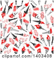 Clipart Of A Seamless Background Pattern Of Torches Royalty Free Vector Illustration by Vector Tradition SM
