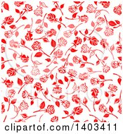 Seamless Background Pattern Of Red Roses