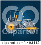 Road Roller Machine With Visible Parts On Blue
