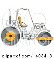 Road Roller Machine With Visible Parts