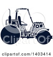 Silhouetted Road Roller Machine With Visible Parts