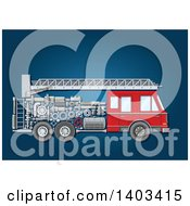 Clipart Of A Fire Truck With Visible Mechanical Parts On Blue Royalty Free Vector Illustration by Vector Tradition SM