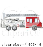 Clipart Of A Fire Truck With Visible Mechanical Parts Royalty Free Vector Illustration