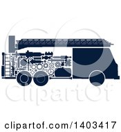Clipart Of A Silhouetted Fire Truck With Visible Mechanical Parts Royalty Free Vector Illustration by Vector Tradition SM