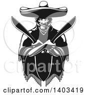 Clipart Of A Black And White Mexican Bandit Wearing A Poncho And Sombrero And Holding Machetes In Crossed Arms Royalty Free Vector Illustration