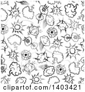 Clipart Of A Seamless Background Pattern Of Comic Bursts Royalty Free Vector Illustration