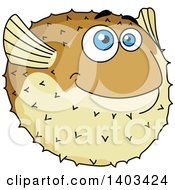 Clipart Of A Cartoon Blow Fish Royalty Free Vector Illustration