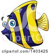 Clipart Of A Cartoon Marine Fish Royalty Free Vector Illustration