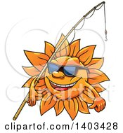 Clipart Of A Happy Summer Sun Wearing Sunglasses And Carrying A Fishing Pole Royalty Free Vector Illustration